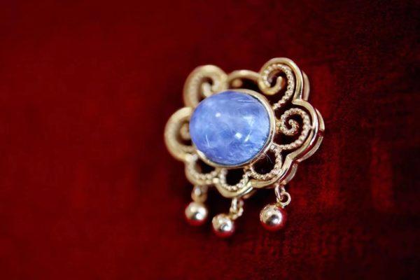 蓝发晶横款如意吊坠,多了一丝古意与趣味-菩心晶舍