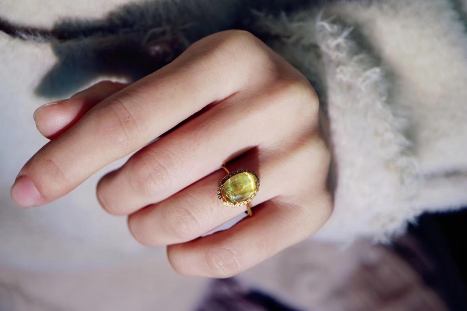 【菩心钛晶💍 | 18k & 💎】这一枚钛晶,犹如太阳般温暖有力量-菩心晶舍