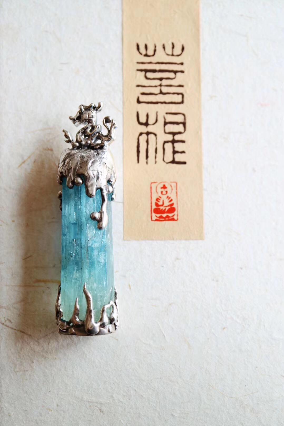 【菩心-海蓝宝原石】古龙海蓝宝印章,此情可待-菩心晶舍