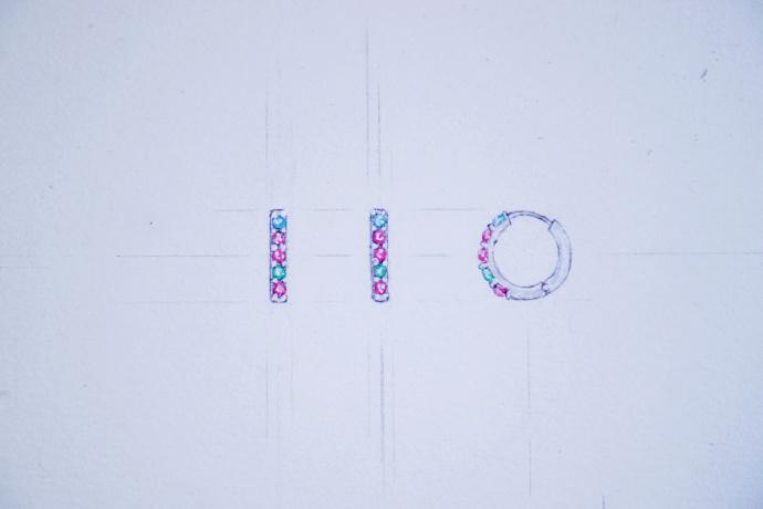 【碧玺】耳钉、锁骨链字母可定制~-菩心晶舍