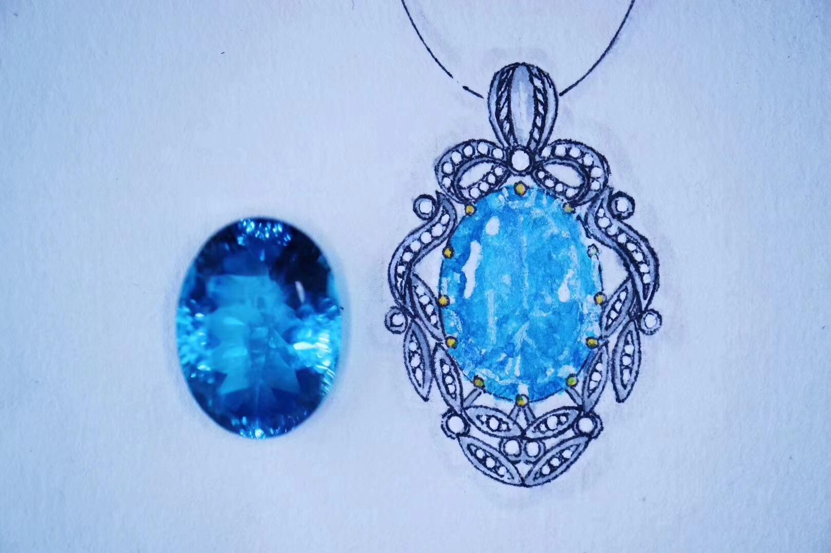 【菩心·托帕石戒指、项链设计稿】带着晶石的灵魂疗愈者-菩心晶舍
