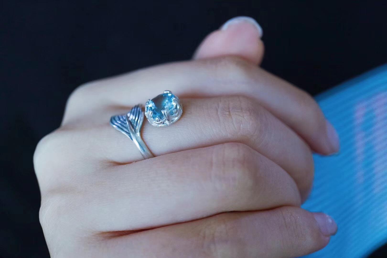 【菩心-海蓝宝戒指】纯手工可仙可仙的美人鱼尾戒-菩心晶舍