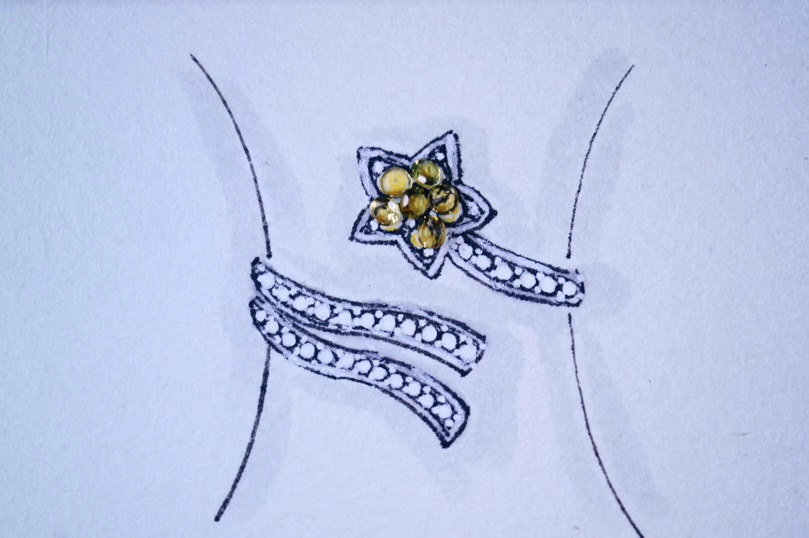 【菩心-碧玺流星戒】奉上一波关于浪漫、星星的设计-菩心晶舍