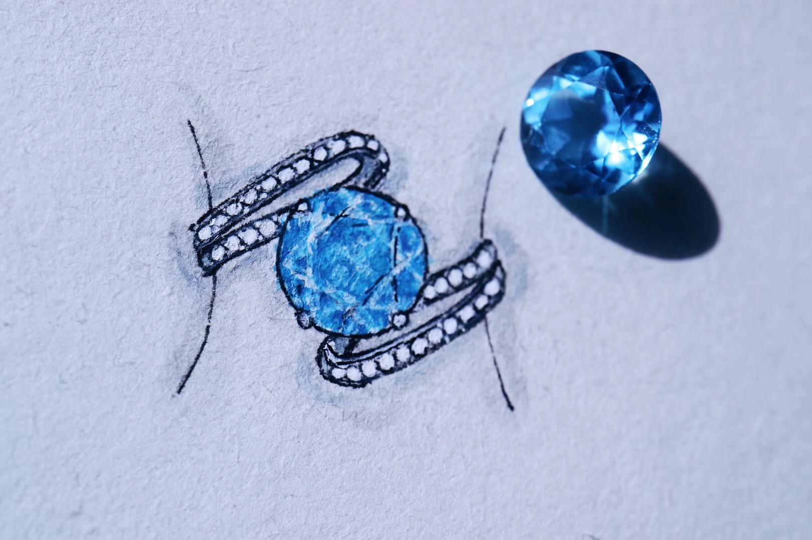 【菩心-托帕石、红纹石戒指设计】想要更多爱的宝宝,可以选择心轮宝石-菩心晶舍