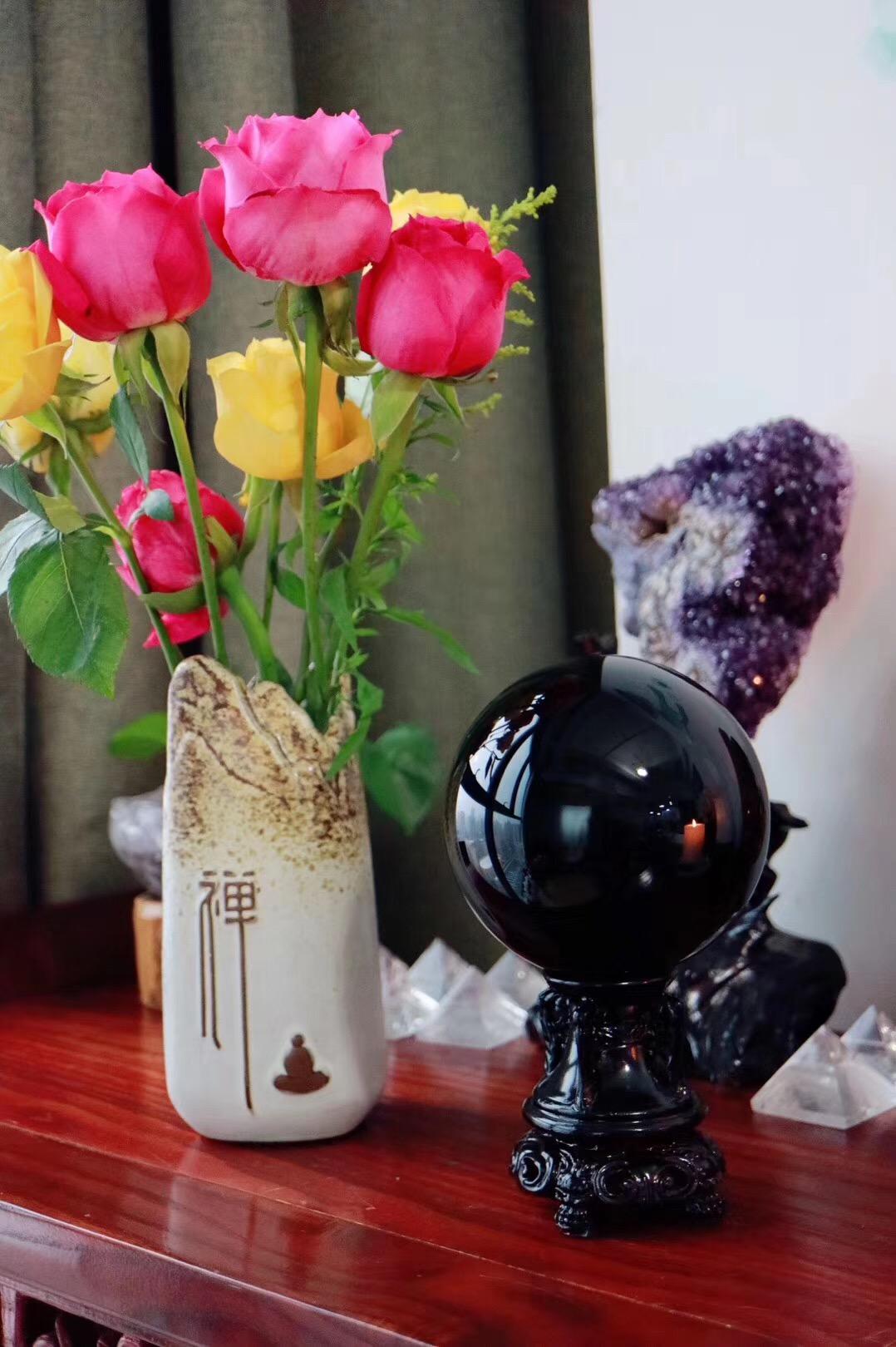【黑曜石球】黑曜石是排除负性能量最强的水晶之一-菩心晶舍