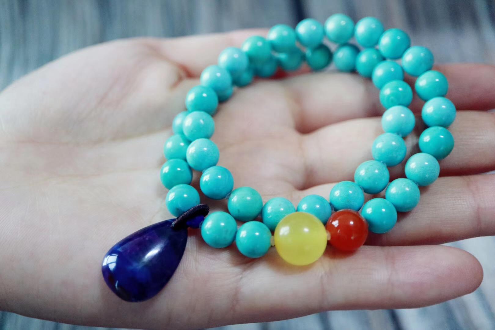 【绿松石 | 舒俱来】佩戴原矿绿松石最有趣的当是她的变色了-菩心晶舍