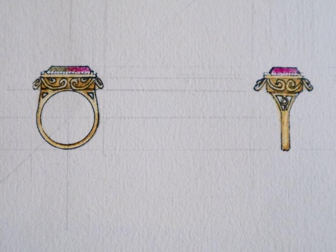 西瓜碧玺部分设计图-锁骨链,细手链或者戒指-菩心晶舍