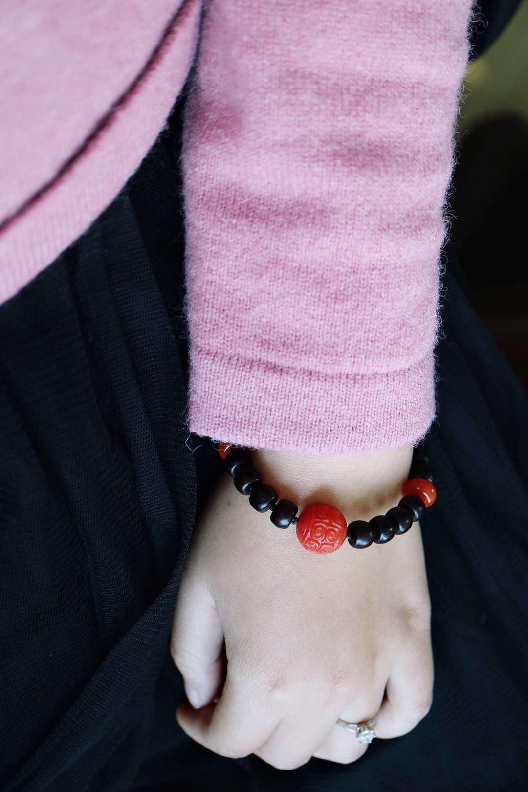 【菩心-情侣款小叶紫檀&南红玛瑙】喜结良缘的调调,新年最红-菩心晶舍