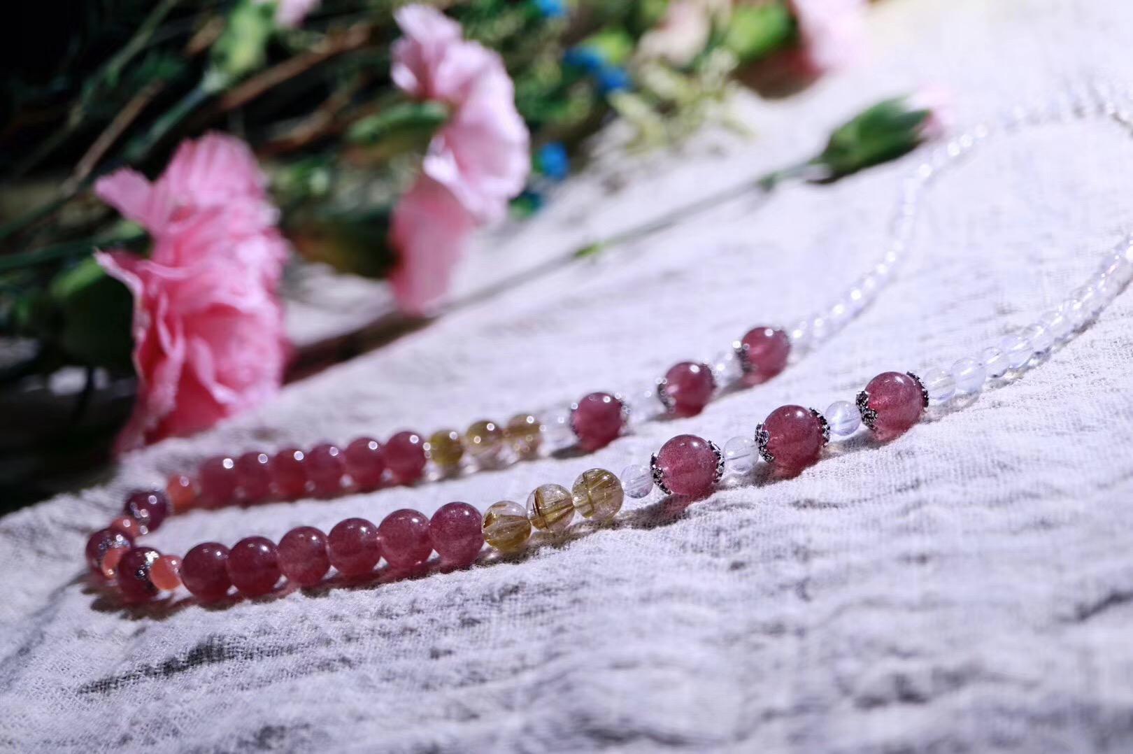【月光石   红纹石   草莓晶   钛晶】关于提升爱情和事业运的清新定制-菩心晶舍