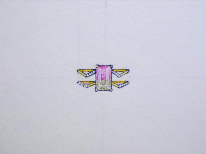 西瓜碧玺手稿,一些小梦幻的清新戒指、锁骨链的设计~~ -菩心晶舍