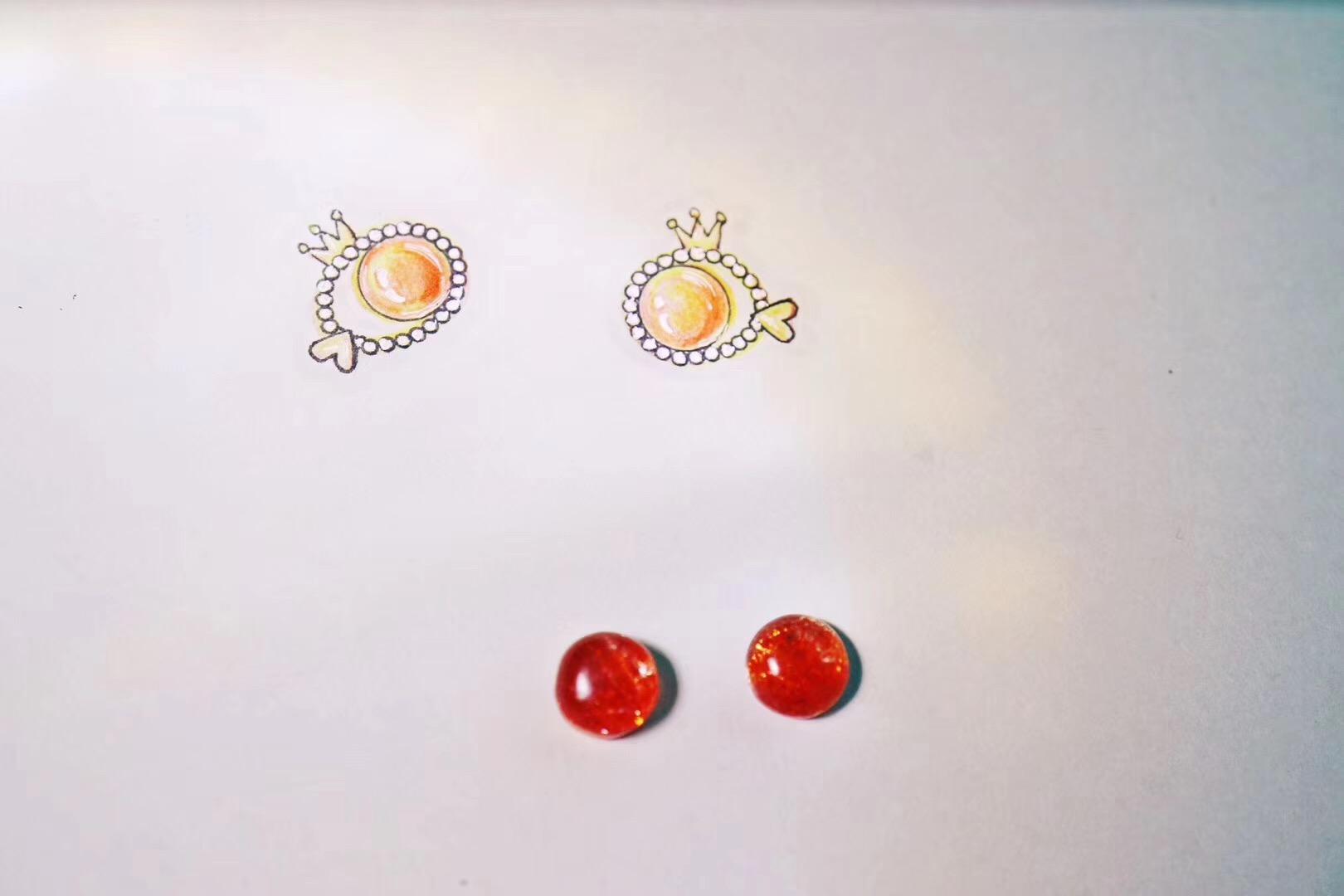 【菩心-太阳石耳钉】太阳鱼在白水晶球的光晕下,自由畅游-菩心晶舍