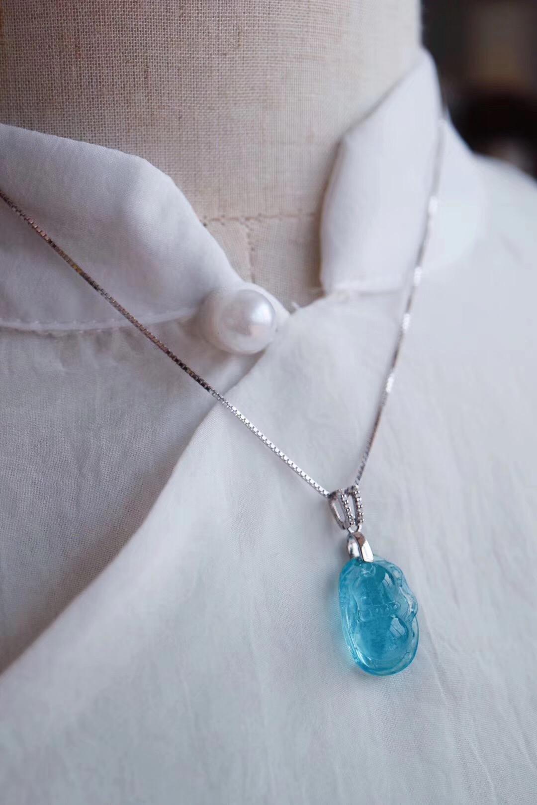【菩心海蓝宝 | 葫芦】天气渐热,又是锁骨链盛行的季节啦-菩心晶舍