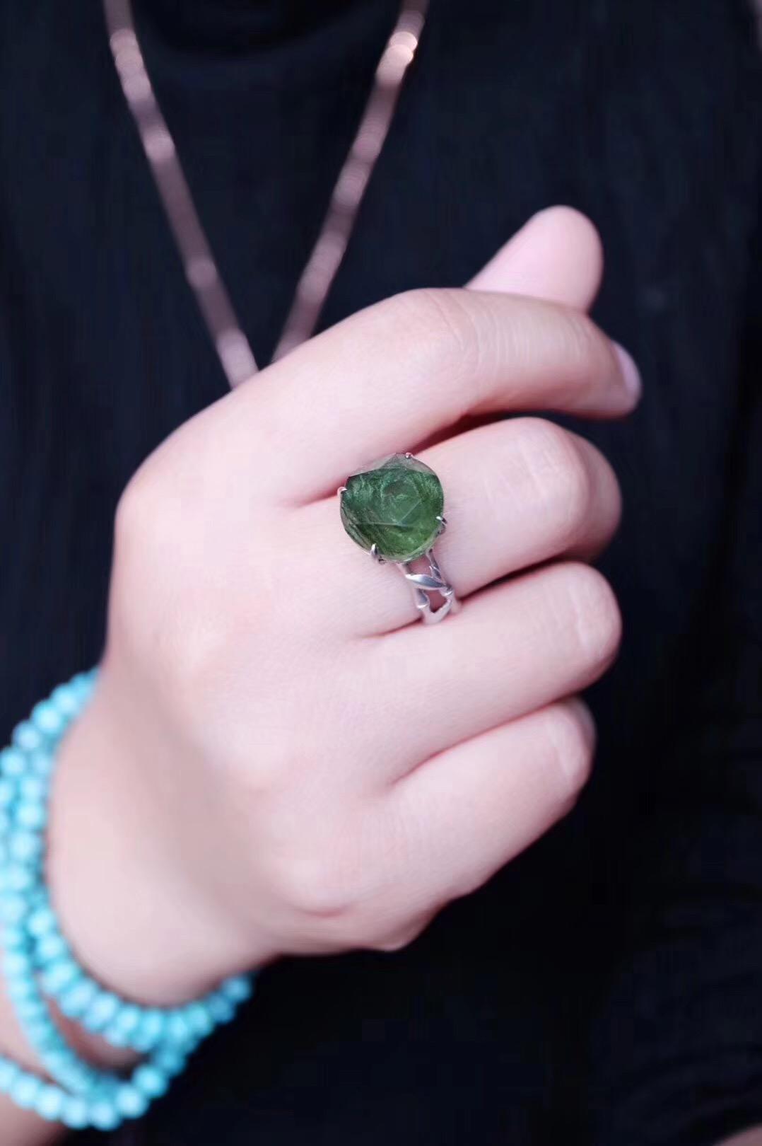 【菩心·捷克陨石白金戒】梅尔卡巴图腾的捷克陨石,更是独有一番帅气-菩心晶舍
