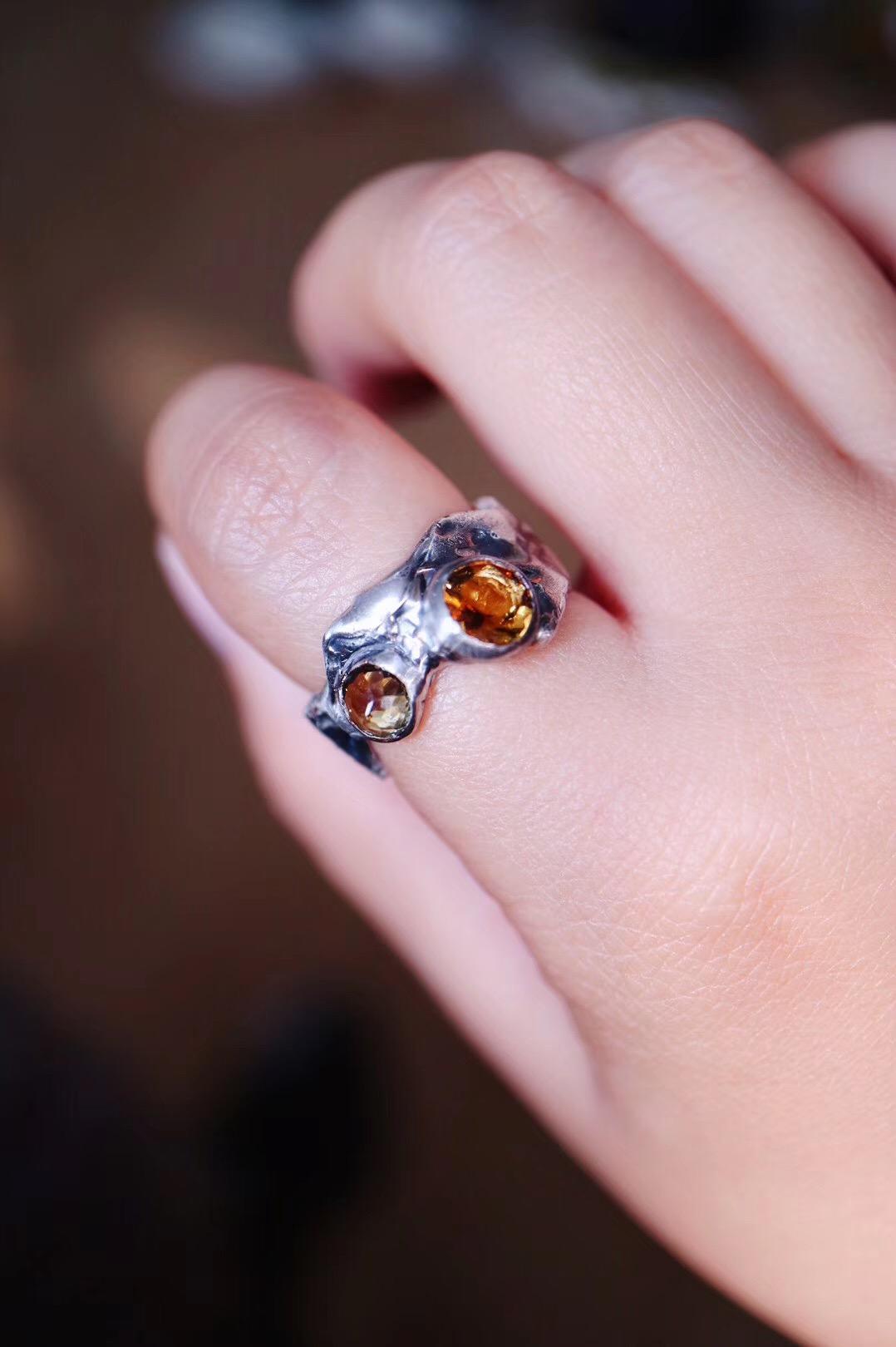 【菩心·碧玺戒-纯手工】一枚手作碧玺戒指,也是充满了质感,纹路控切莫错过-菩心晶舍