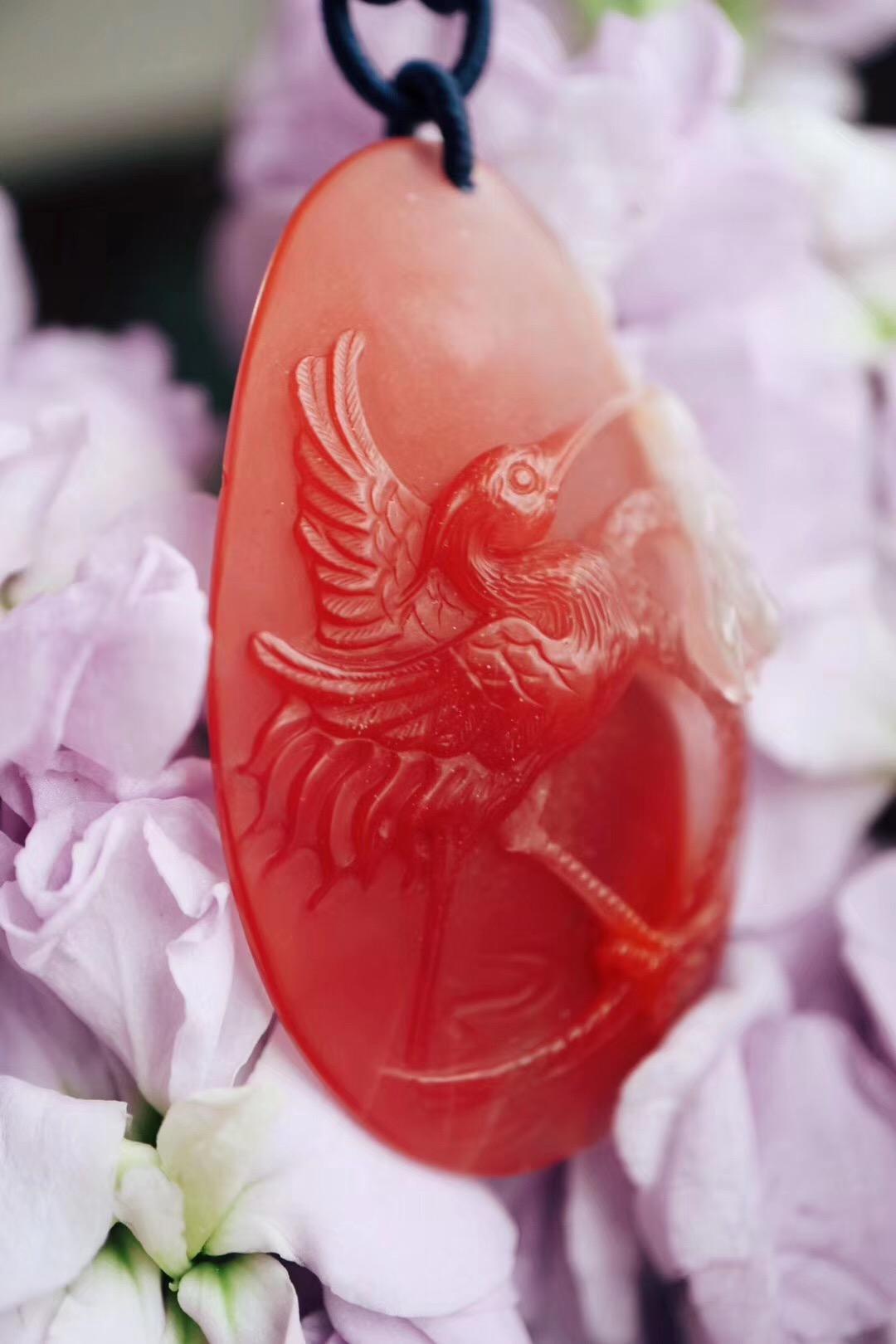 【菩心-南红玛瑙】雕刻仙鹤荷花的冰飘俏色南红寓意合和-菩心晶舍