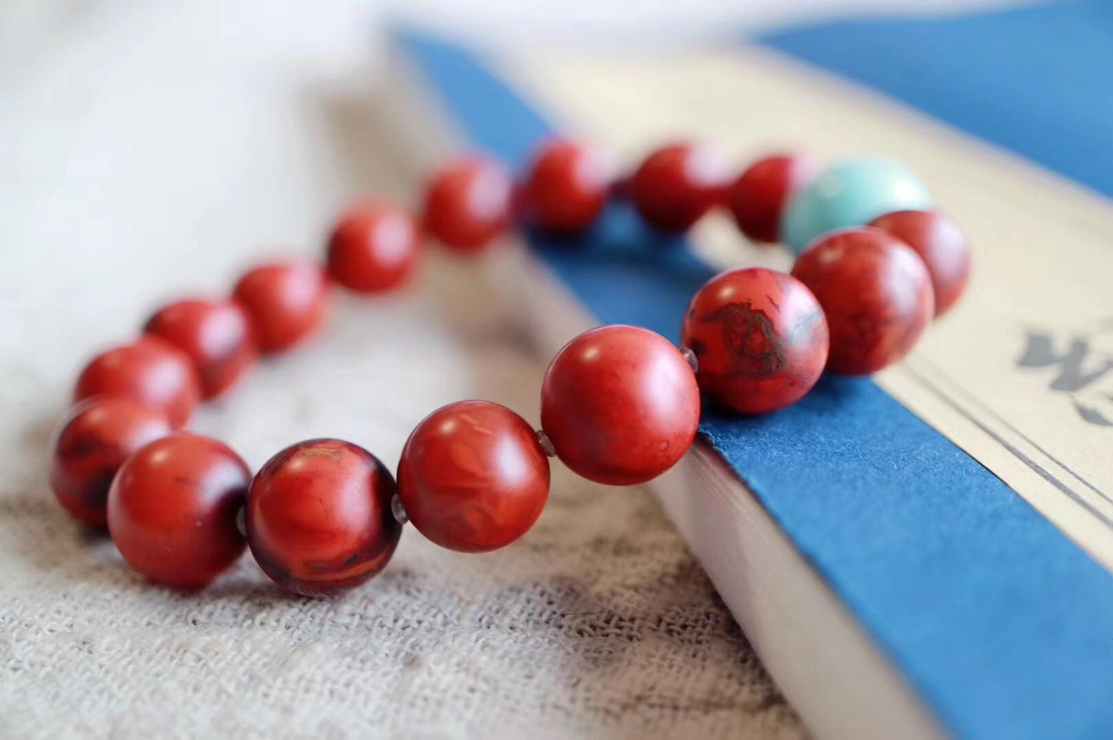【菩心包浆南红玛瑙 | 原矿绿松石】浆珠随着时间的推移,会越盘越红,越盘越润-菩心晶舍