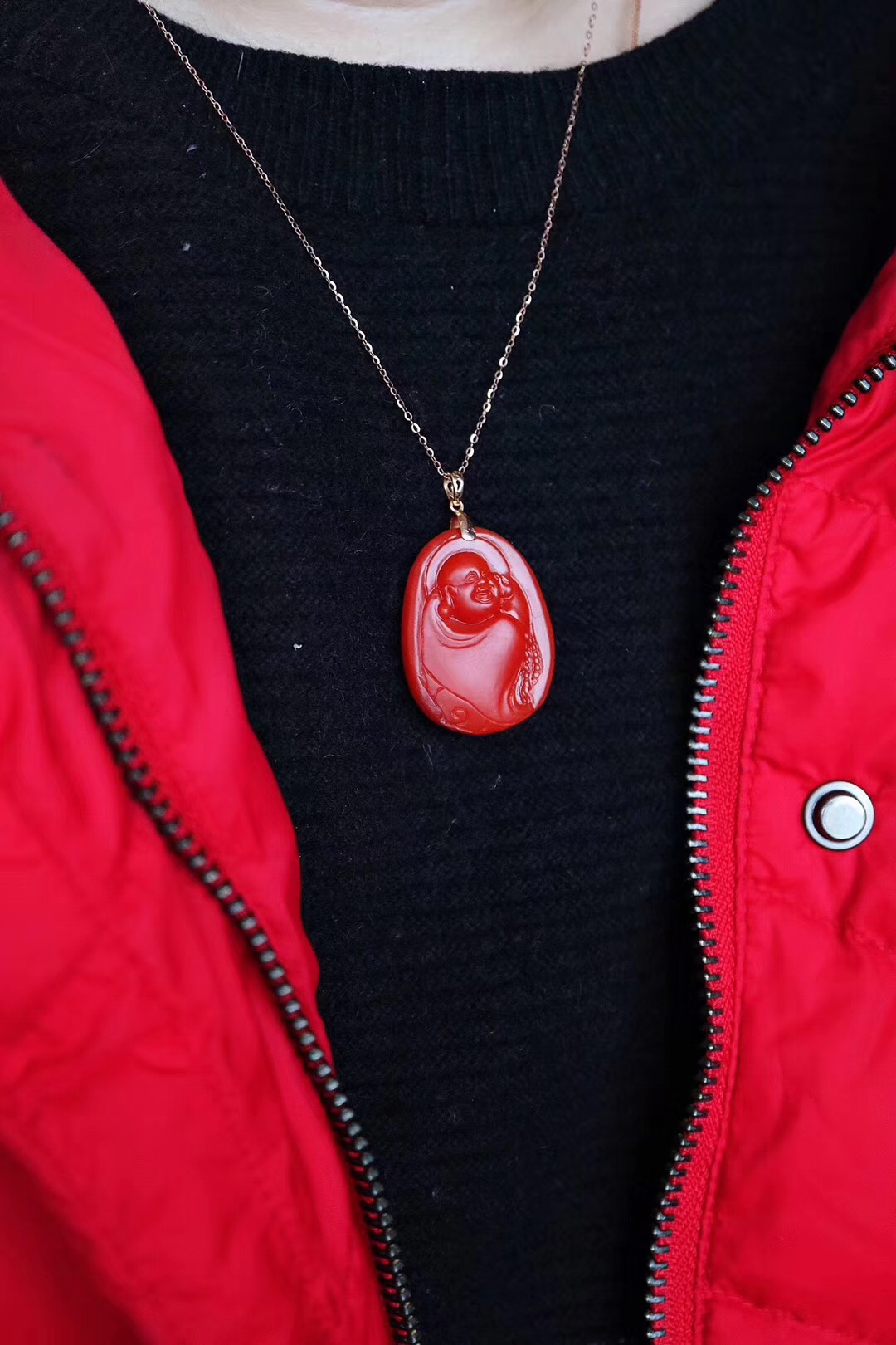 【菩心-极品保山南红&弥勒佛】收藏级锦红色保山南红弥勒佛,送妈咪和自留,都是极好的-菩心晶舍