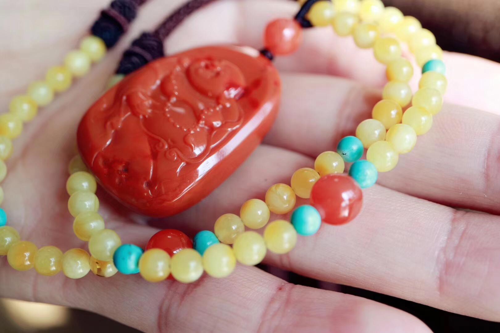 【菩心南红 | 蜜蜡】年底了上新一款红润欢喜的弥勒佛,红红火火好运来-菩心晶舍