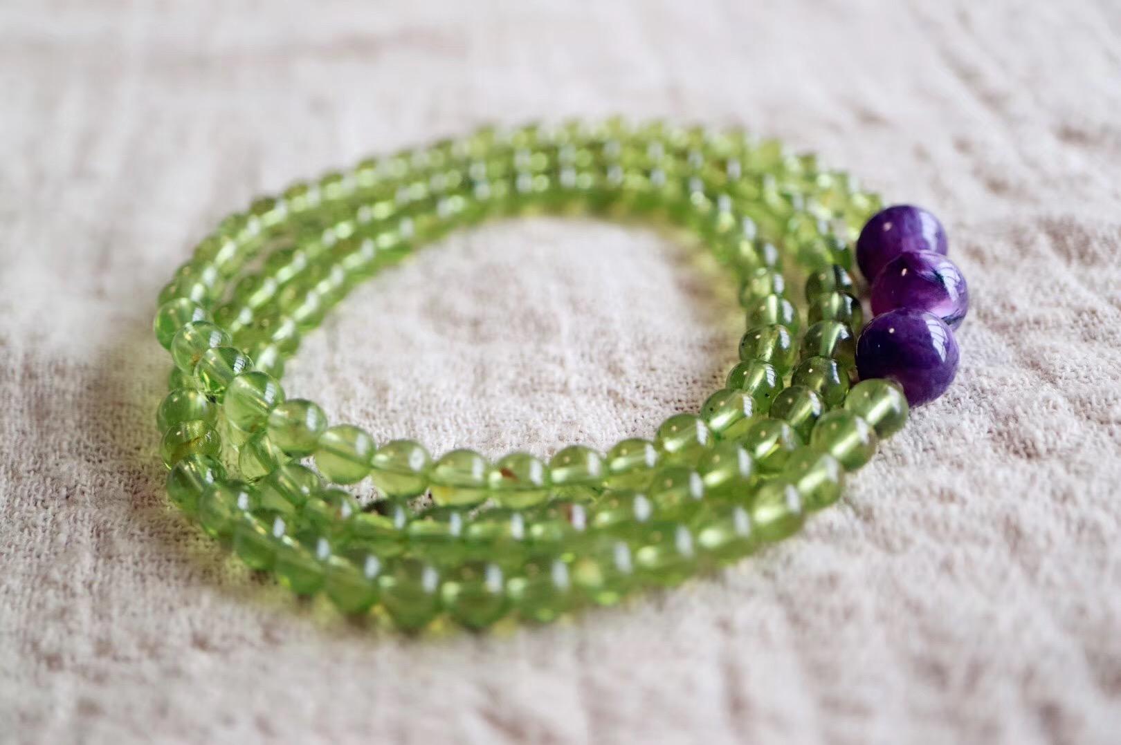【橄榄石   紫龙晶 】玉化紫龙晶搭配,平添许多灵气的同时竟美得如此和谐-菩心晶舍