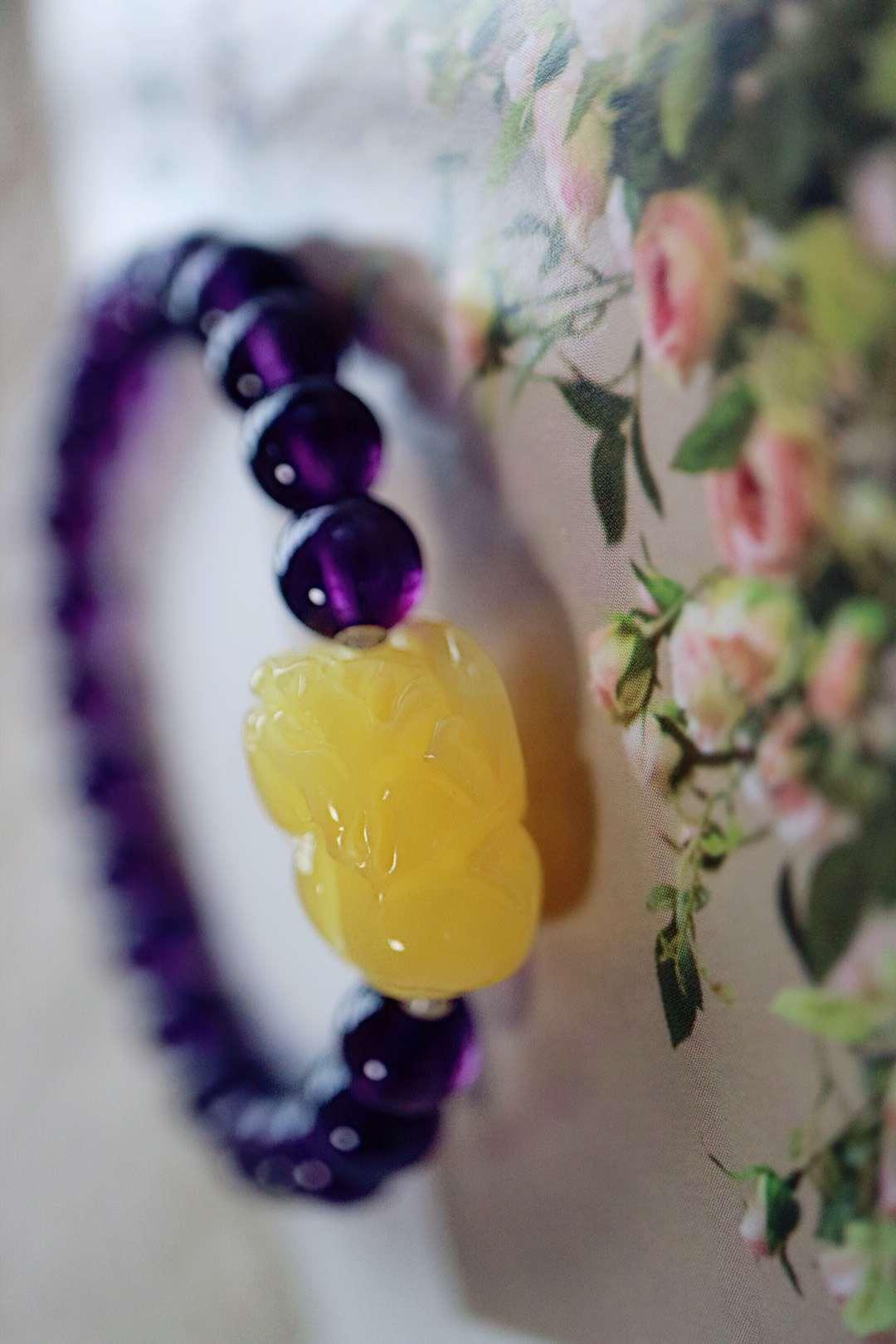 【菩心紫水晶   蜜蜡】一位妈妈给小宝贝定制的手链-菩心晶舍