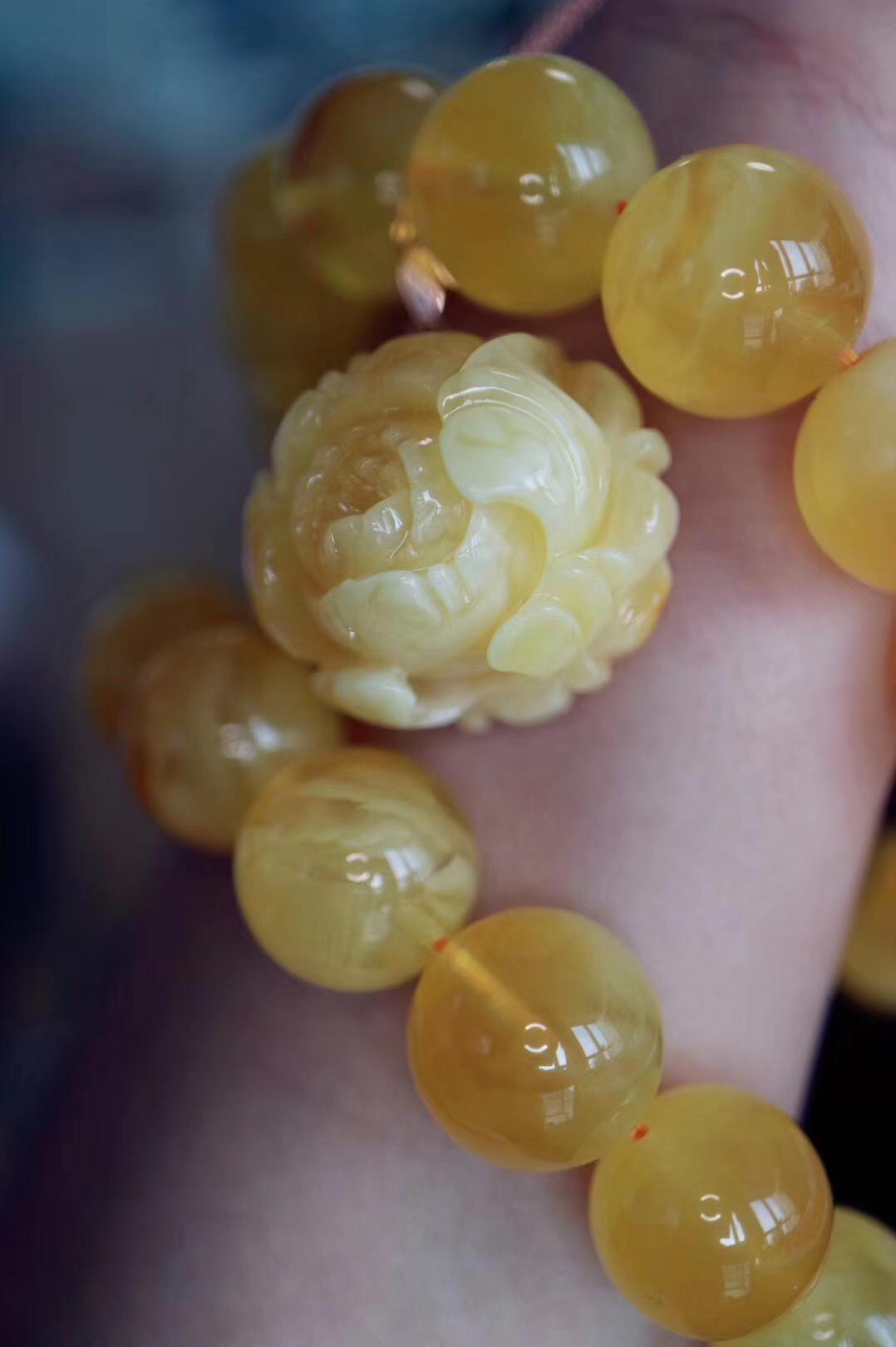 【完美蜜蜡 | 花开富贵】阳光下的黄牡丹,如此美物,佳人可期!-菩心晶舍