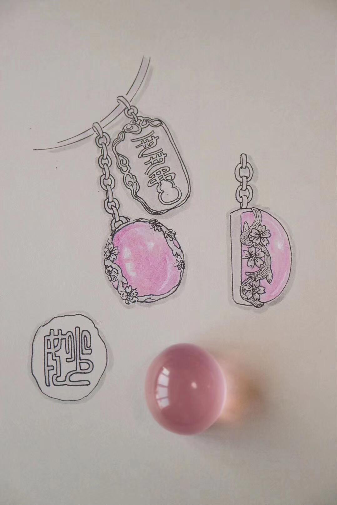 【菩心-粉晶】樱花粉晶坠,真真是个妙物,妙人可收-菩心晶舍