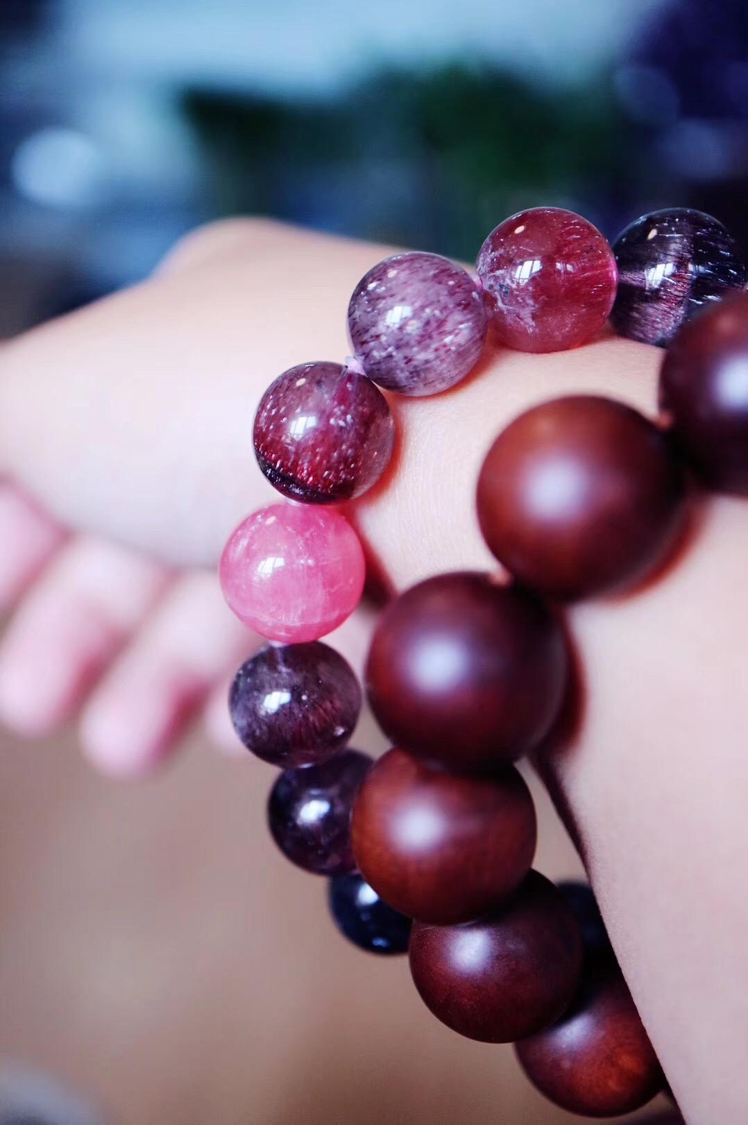 【超七-紫发晶 红纹石 捷克陨石】愿你早日求到内心的和平~-菩心晶舍