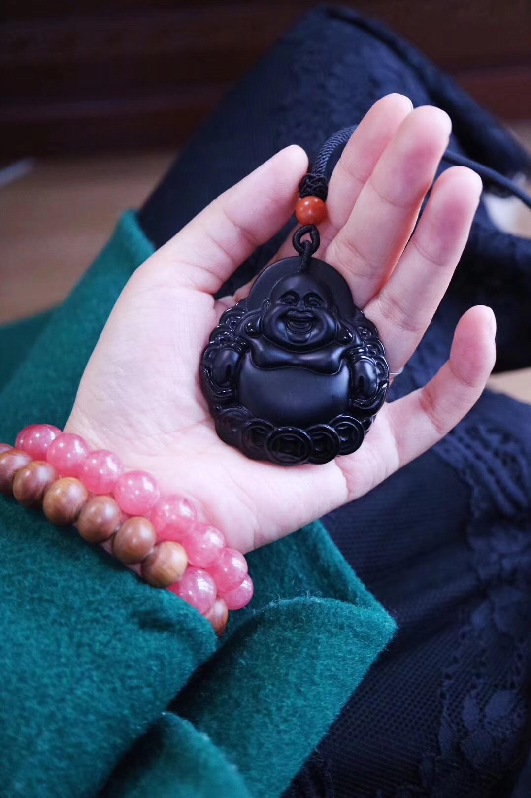 【菩心·黑曜石大弥勒佛精雕挂件】爱上了他的笑,想要拥有它-菩心晶舍