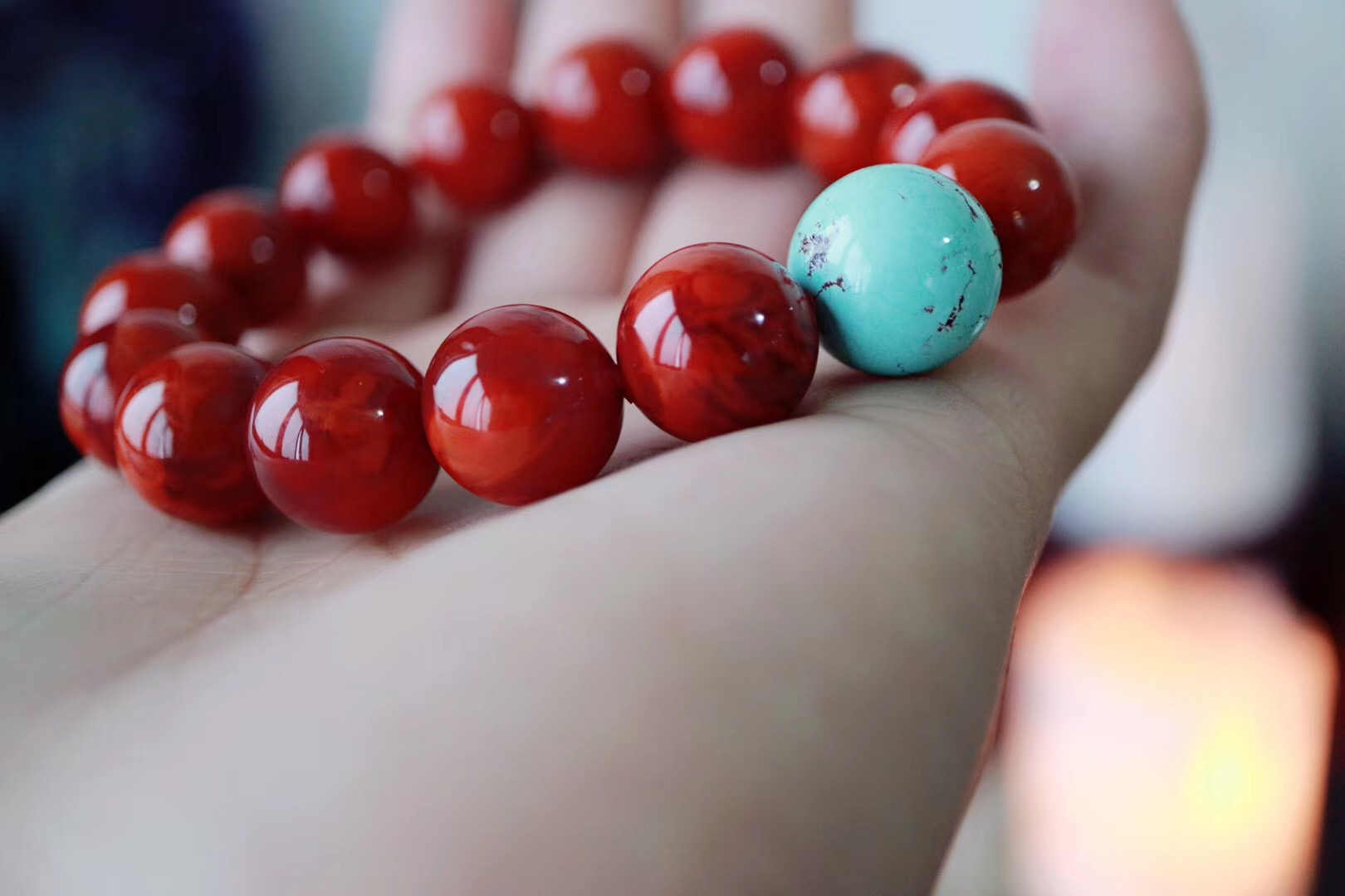 【菩心🔥南红玛瑙 | 原矿绿松石】颜色纯正的南红火焰纹,意境优美,颜色红润-菩心晶舍