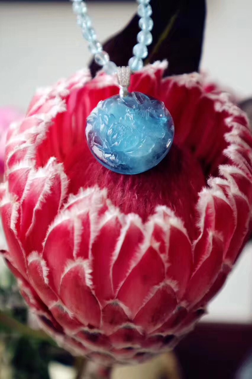 【菩心-海蓝宝】海蓝宝花好月圆下的蝶恋花,与君共赏!-菩心晶舍