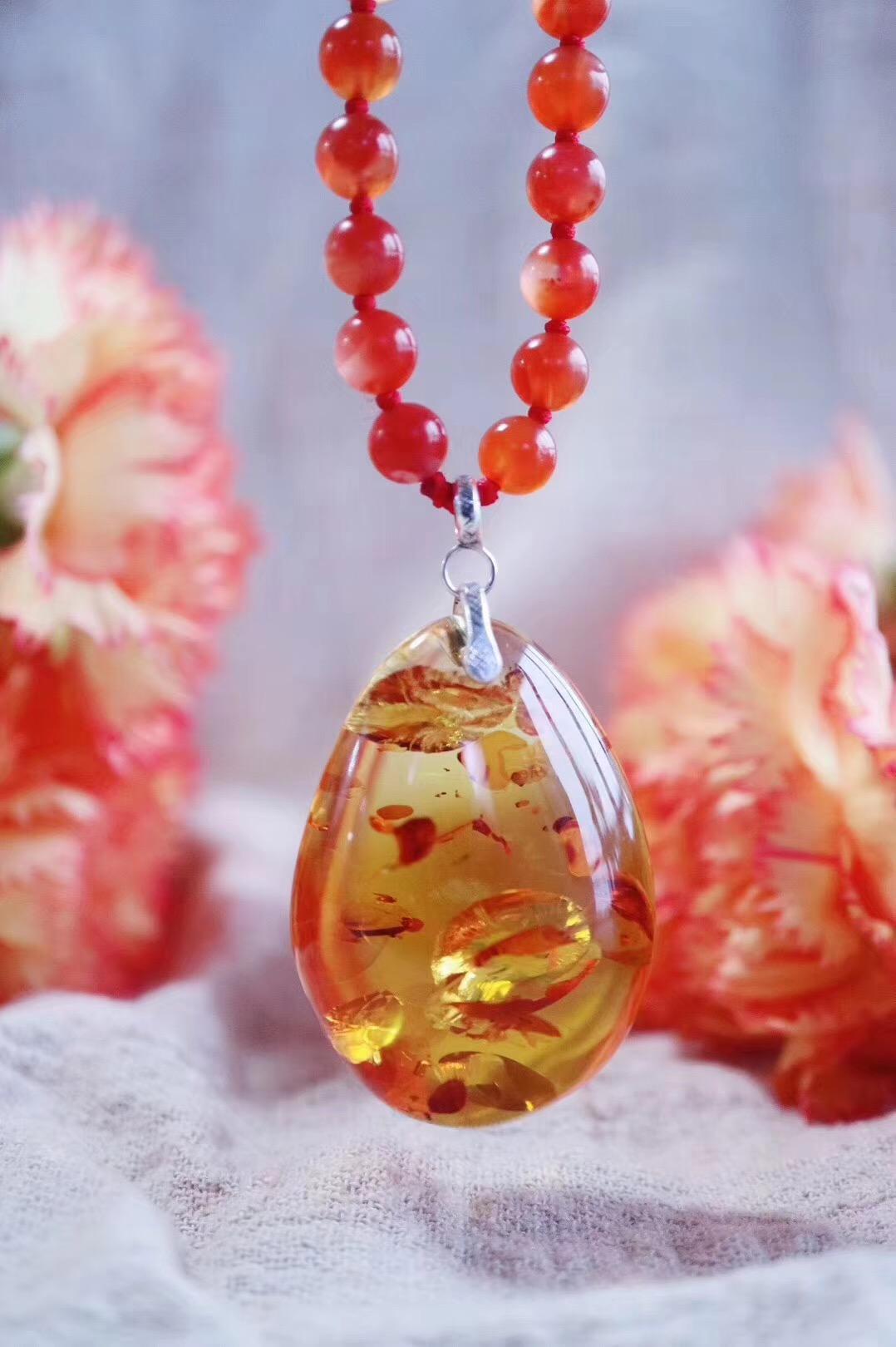 【菩心-花珀】最爱的花珀坠子,配以很特别的冰种保山南红-菩心晶舍