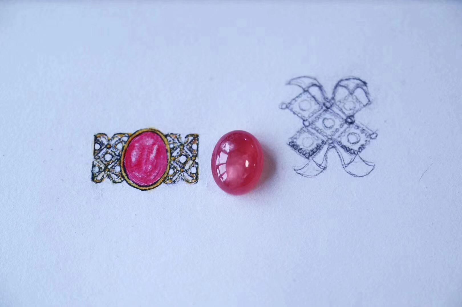 【红纹石蕾丝感戒、嘎乌盒18k】菩心的设计,没有国界,没有固定风格-菩心晶舍