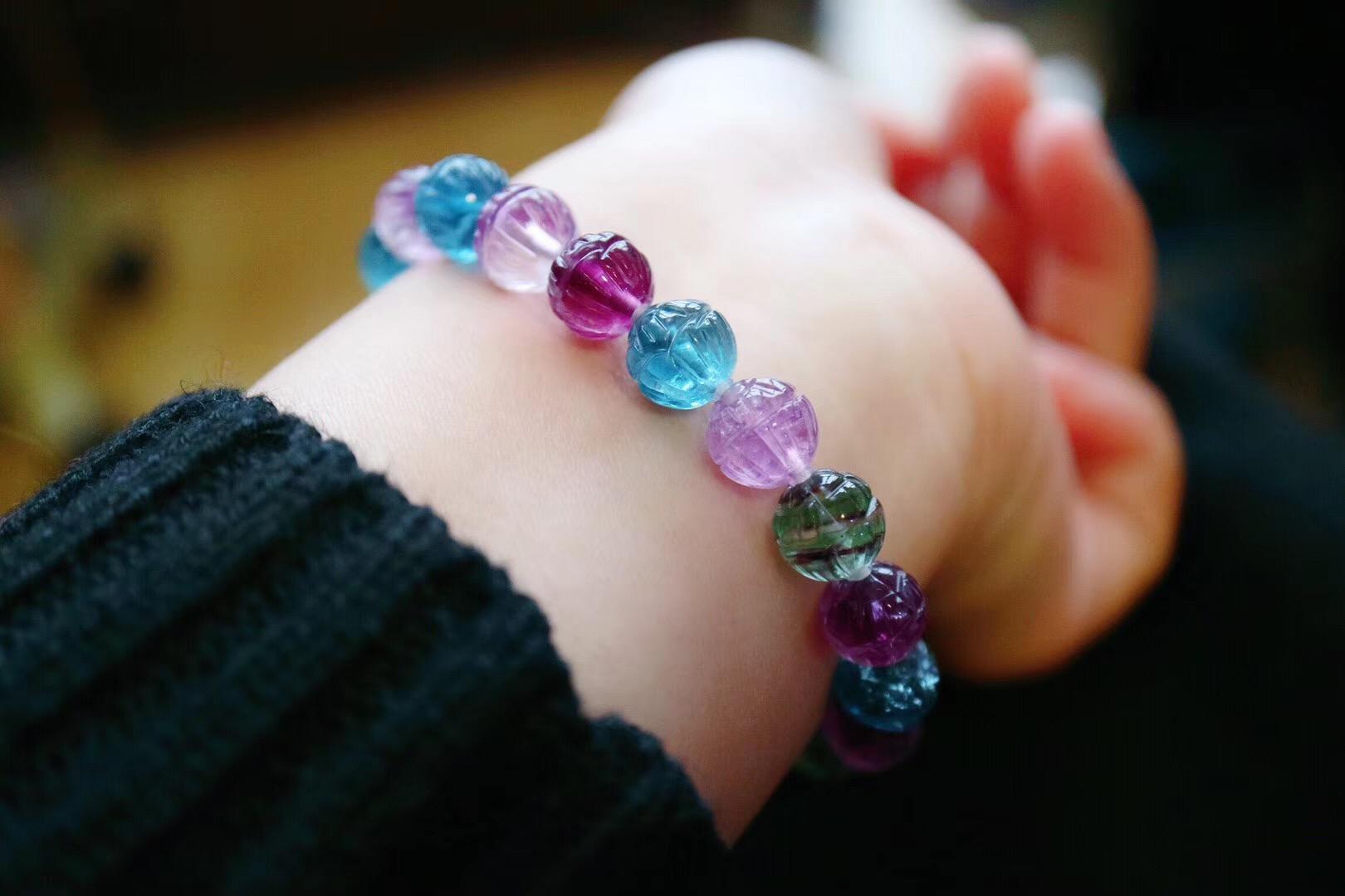 【菩心|极品&五彩萤石莲花珠】在天然晶石界,萤石也是一种很特别的存在-菩心晶舍