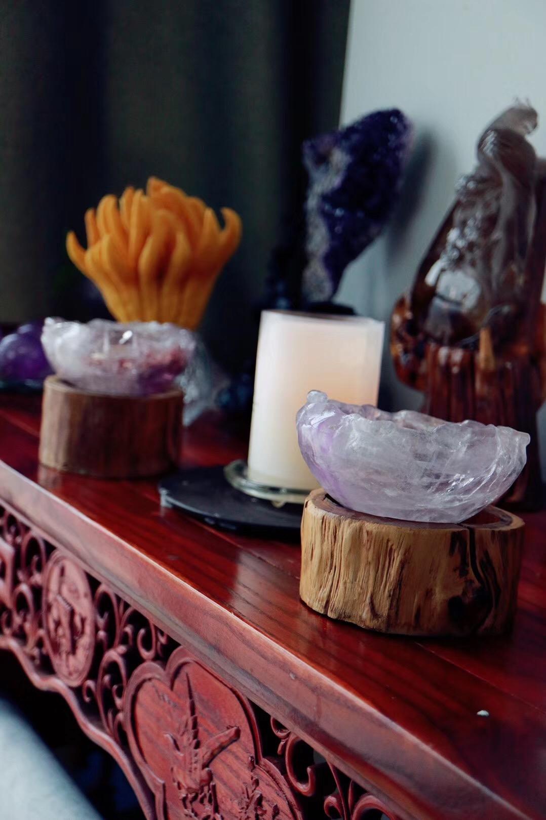 """【紫晶盆】在西方被称为""""爱的守护石"""",象征纯洁美好的爱情-菩心晶舍"""
