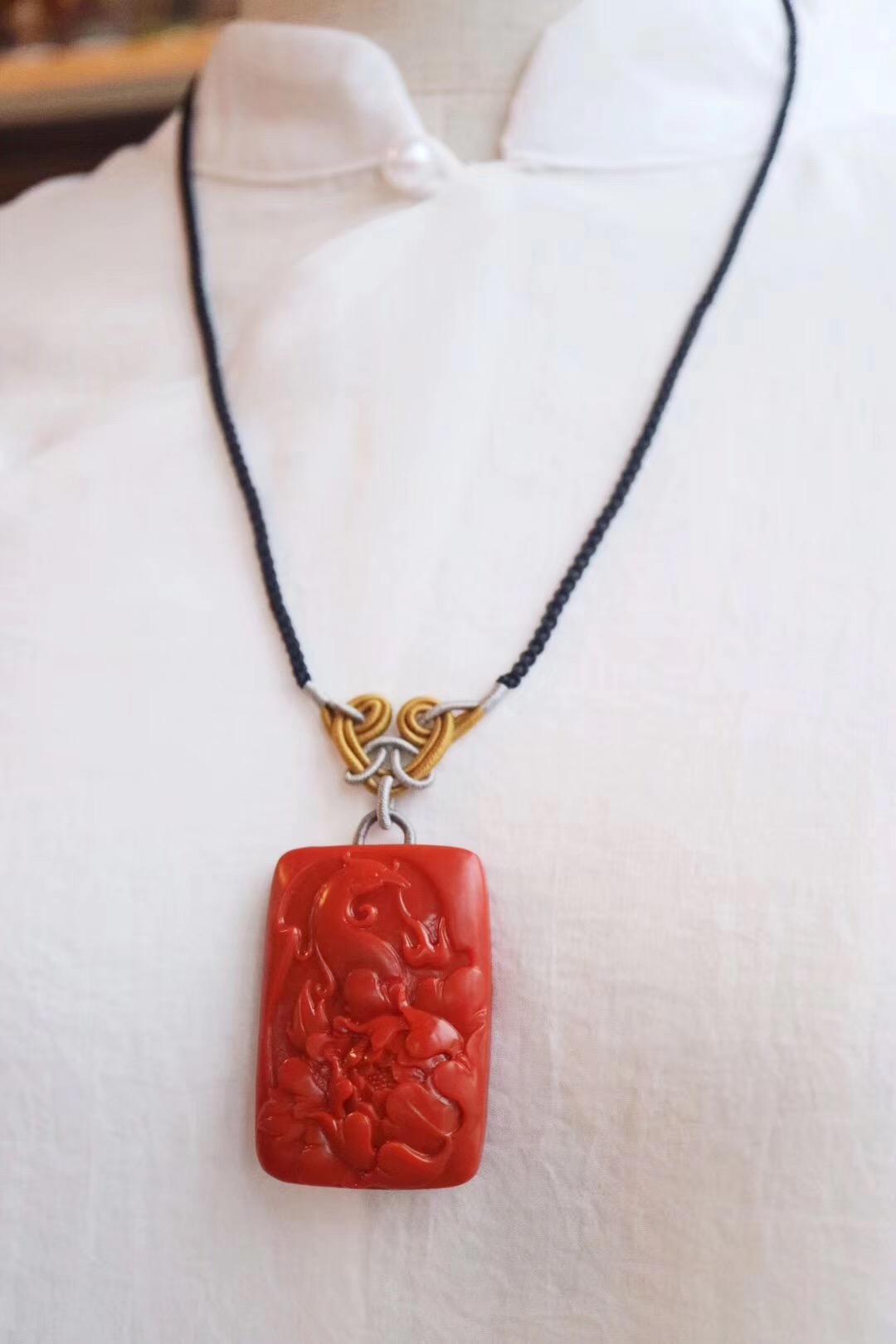 """【菩心-南红玛瑙】牡丹搭配白头翁鸟,寓意""""富贵白头"""",更是长寿的象征-菩心晶舍"""