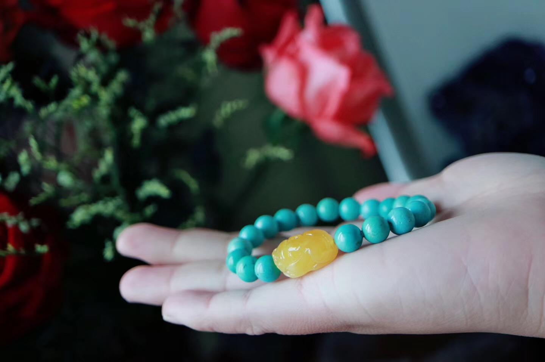 【菩心绿松石   蜜蜡貔貅】喜物从心,伴随绿松石一起沉淀变美-菩心晶舍