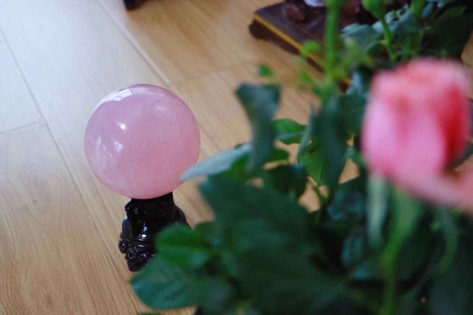 【菩心 | 粉晶球】桃之夭夭,灼灼其华,心轮的疗愈基础石-菩心晶舍