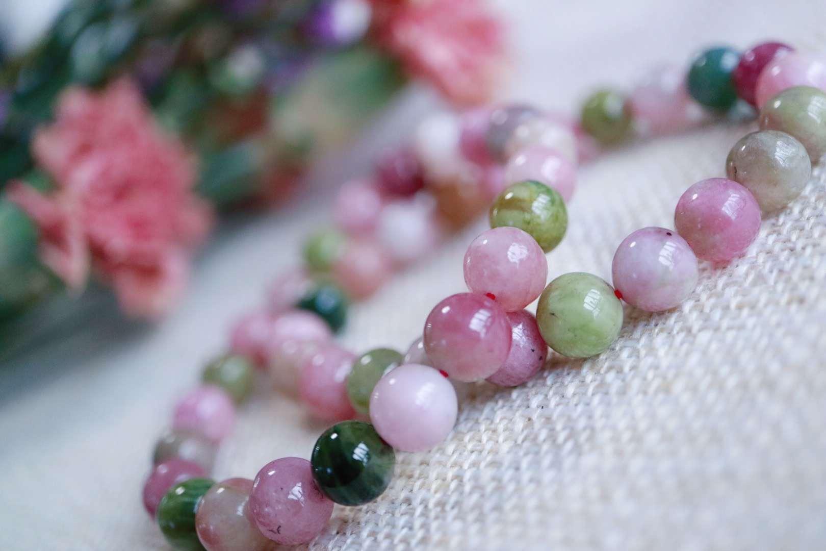 【菩心 | 碧玺】桃粉色为主的糖果碧玺手链,戴上她感受那内心深处的欢喜-菩心晶舍