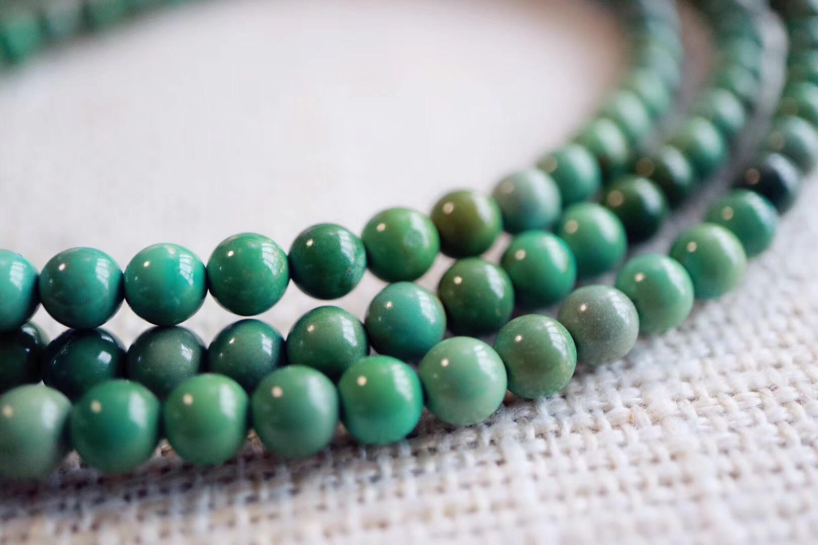 【菩心   原矿绿松石】一串素珠,闲暇之余把玩一番-菩心晶舍