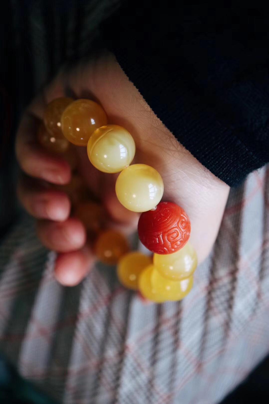 【菩心-蜜蜡、南红玛瑙】蜜蜡搭配顶级保山南红回纹珠,转运、养胃、安神。-菩心晶舍