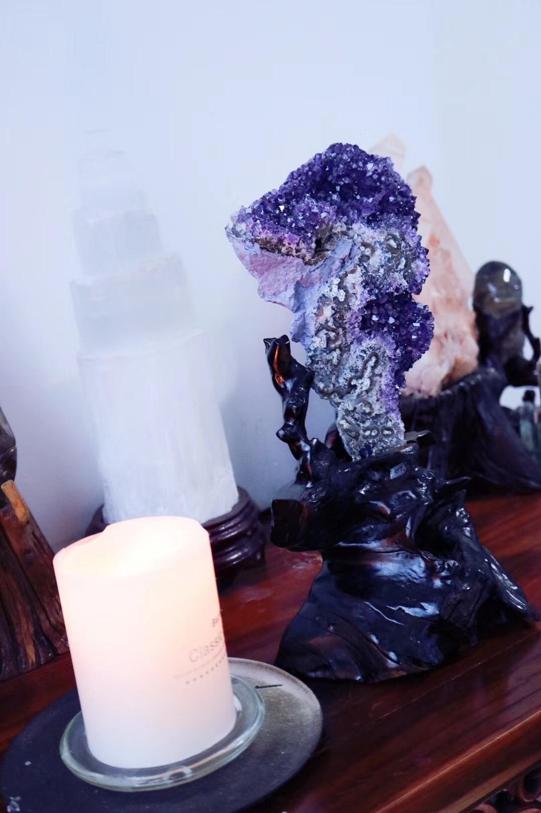 【紫晶簇   如意】浑然天成的如意形状紫晶簇非常罕见稀有-菩心晶舍