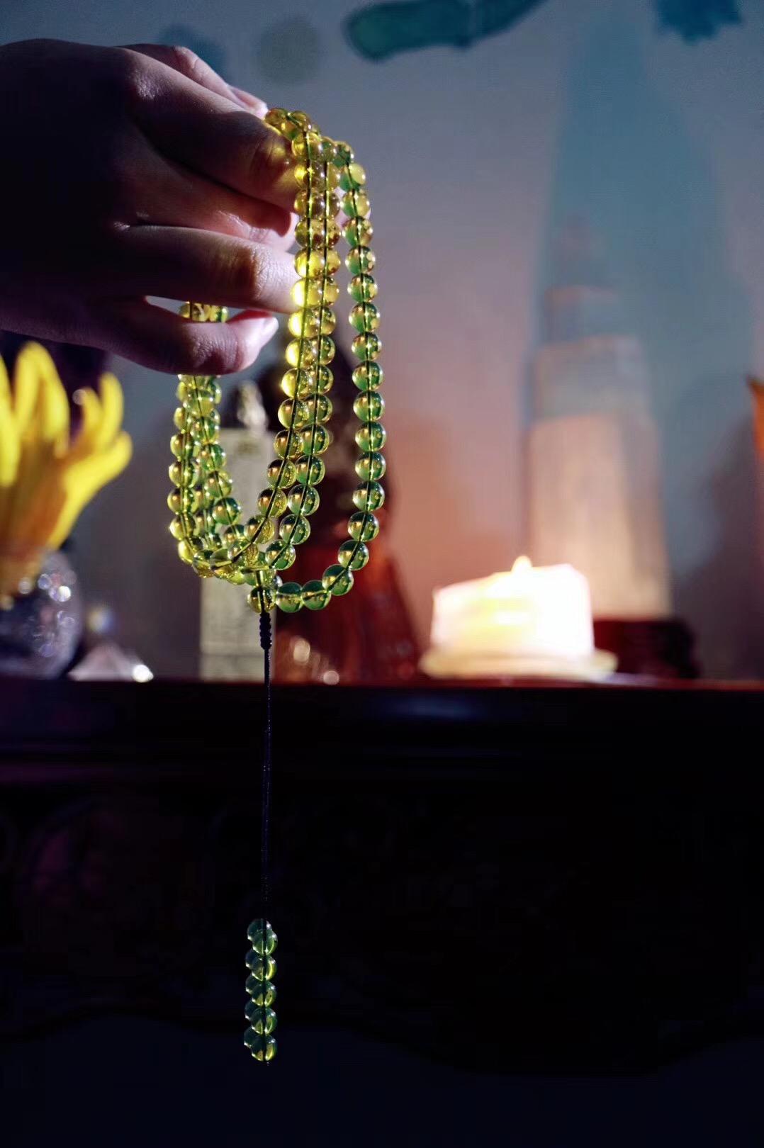 【菩心   蓝珀一百零八子佛珠】佛教七宝之一的温润琥珀佛珠-菩心晶舍