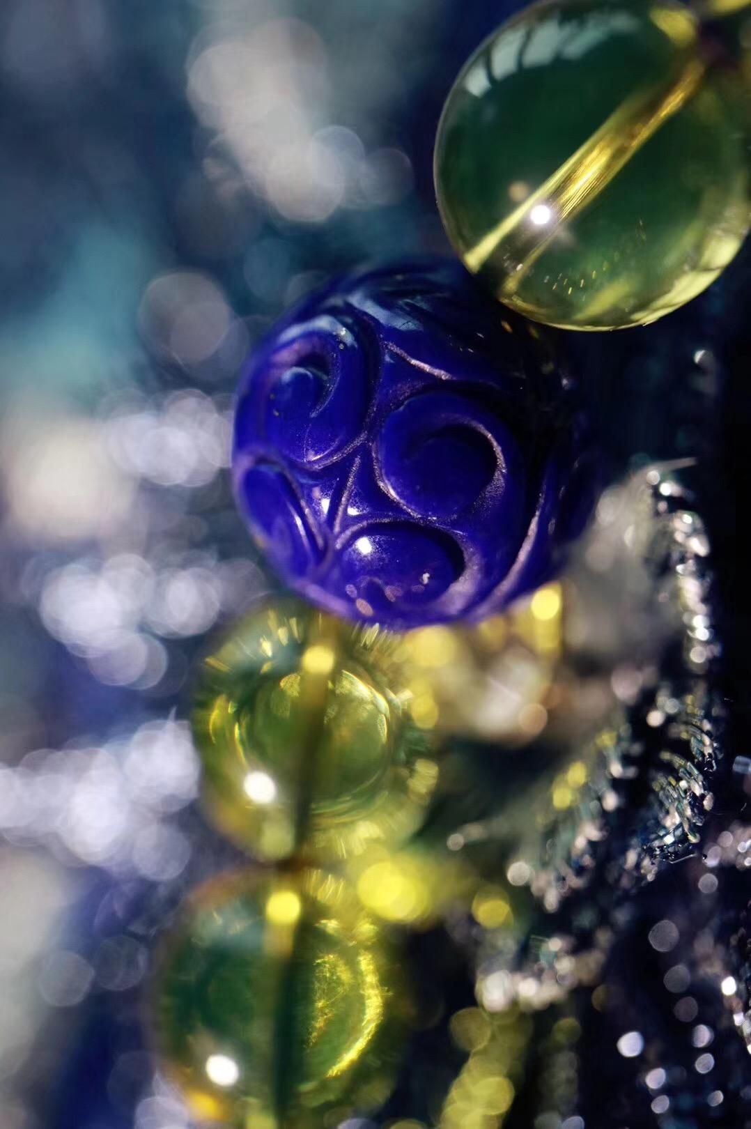 【蓝珀 | 老矿青金 | 火焰纹南红】安眠养心,内心平和愉悦便能装下满满的幸福~~-菩心晶舍